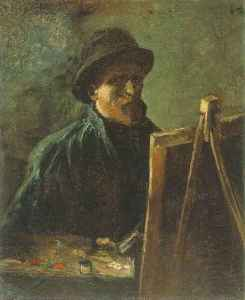 GOGH, VINCENT van_Self-Portrait with Dark Felt Hat at the Easel_1886