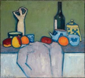 Alexei_Jawlensky_Still life_with_fruit_figure__bottle_1907