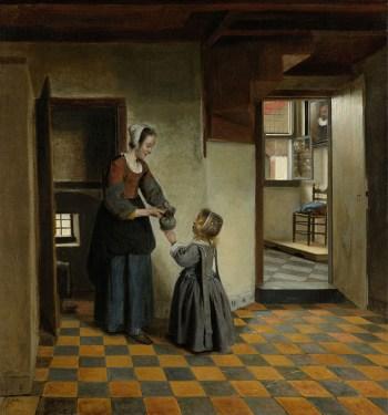 Pieter de Hooch_Een vrouw met een kind in een kelderkamer_1656_1660_sm