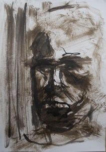 Stefan513593 - daily self-portrait #1: ink - with dripper and tissue on paper (40x30cm)