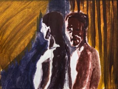 Stefan513593 - daily self-portrait #37: Oil on japanese paper (32 x 41cm) - backlight