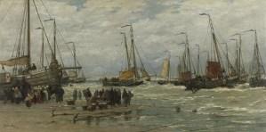 Hendrik Willem-Mesdag 'Pinken in de branding', 1875-1885