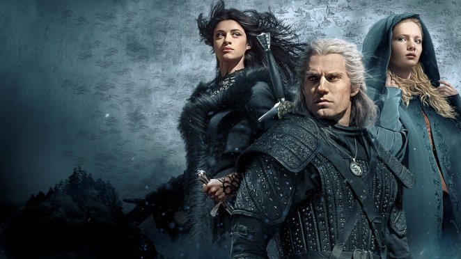 Characters from The Witcher on a poster