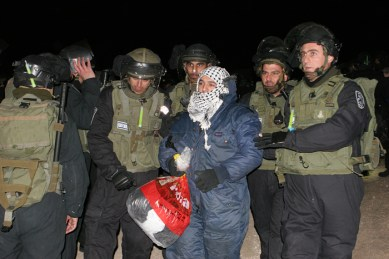 Jan 13, 2013 Israeli Forces evict Bab Al Shams emcampment at 4 am - Jerusalem district - Photo by Aloise Bollack - WAFA