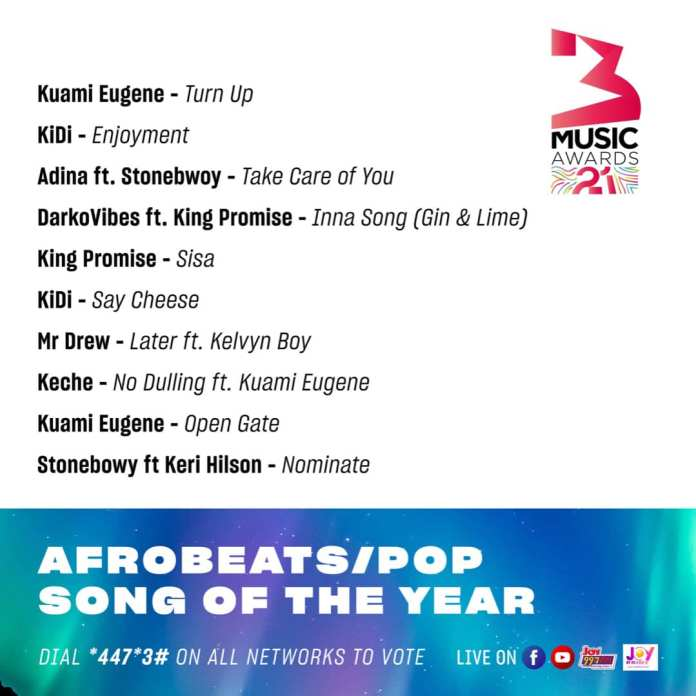 3musicawards21 Afrobeats/Pop Song of the Year!