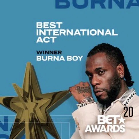 Burna Boy wins Best International Act at the BET Awards for the second consecutive time. (BET)