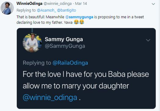 Sammy Gunga's tweet asking for Raila's permission to marry Winnie