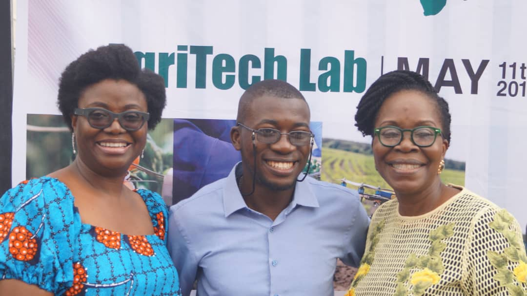 Chief Technical Officer (CTO) to Nigeria's Minister of Agriculture, Ms Mosunmola Umoru; Opeyemi Agbato of Animal Care and Oluwafemi Aliu at Agritech Lab event in Lagos