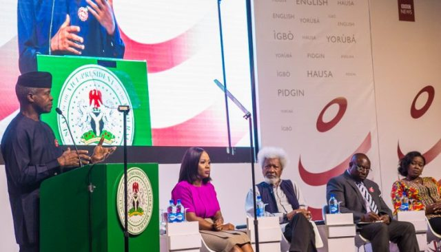 Vice-President Yemi Osinbajo and other panelists at the BBC conference on countering fake news (CybokNews)