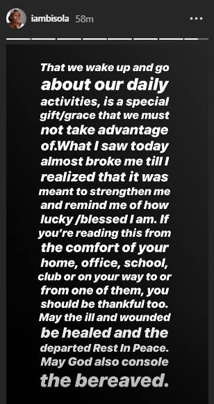 On Instagram, Bisola Aiyeola is not taking for granted the opportunity to freely go about her business without the tragedy that befell victims of the Lagos Island building collapse.