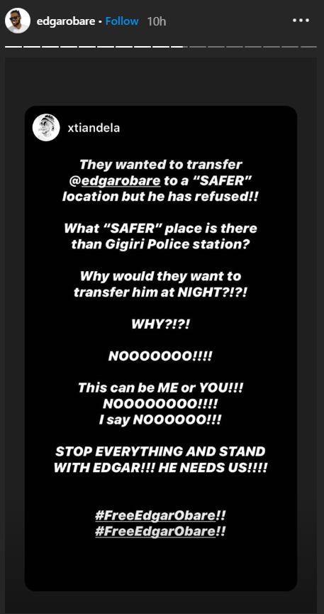A post on Edgar Obare's Instagram stories