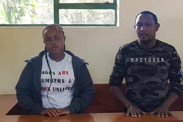 Judy Wangui and Michael Githae during a court hearing (Nation)