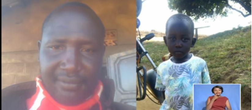 Kenyan Police reservist Zakayo Rotino and his daughter (YouTube)