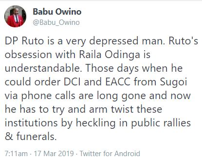 DP Ruto is a depressed man – Babu Owino