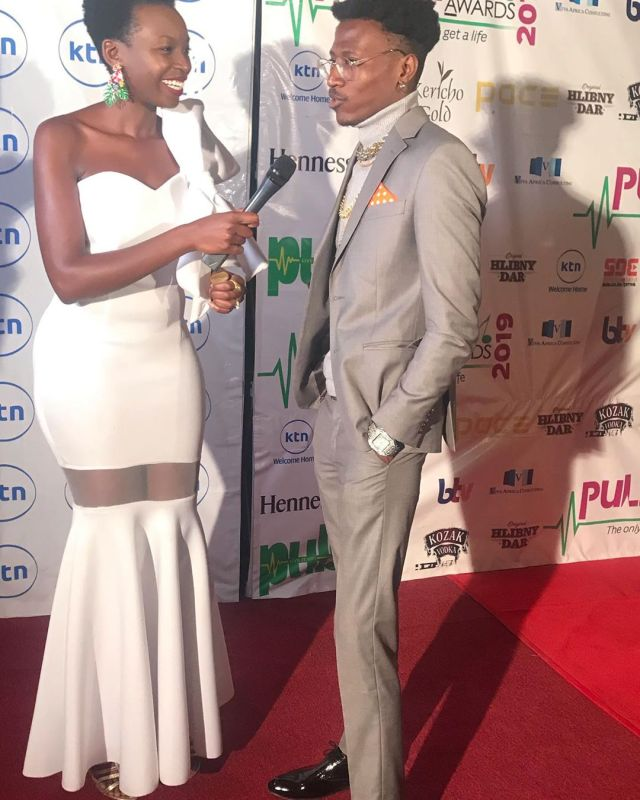 Anyiko Owoko with Octopizzo at the 2019 Pulse Music Video Awards (PMVA)
