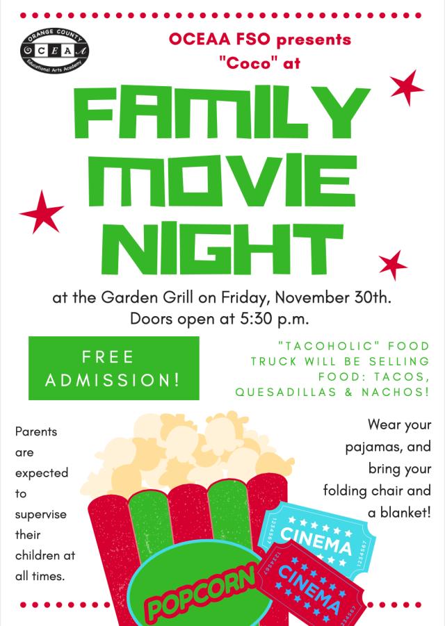 family movie night at OCEAA