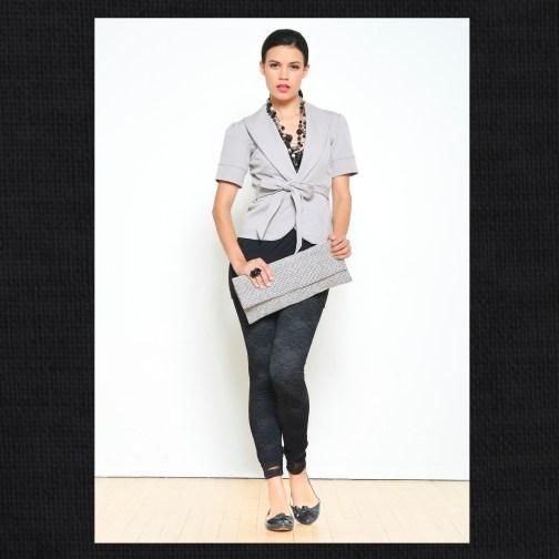 Ocean Avenue Grey Twill Blazer with Tie Front