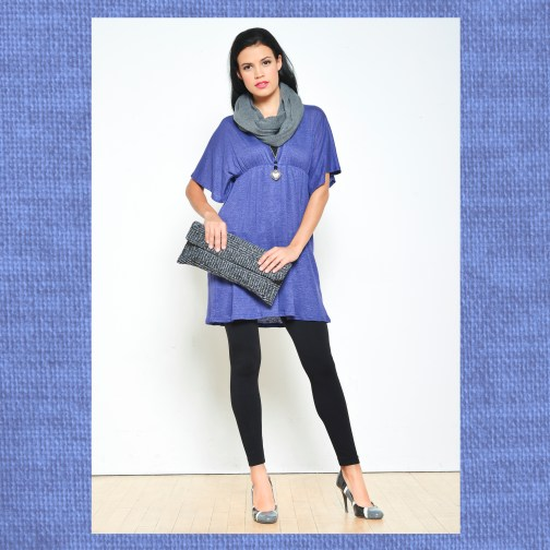 Ocean Avenue Purple Linen Tunic with Wool Clutch and Infinity Scarf