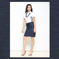 Ocean Avenue Navy Pencil Skirt with Front Bow