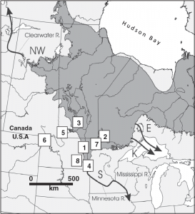 Figure 1. A geographical reconstruction of glacial Lake Agassiz's total extent over ~5,000 years.  Arrows represent possible drainage routes and numbers represent the location of paleoclimate studies cited.