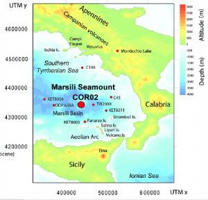 Location of gravity core on the Marsili Seamount, between Sicily and mainland Italy.