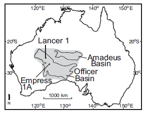 Overview of Australia.  The shaded areas represent the coverage of the Browne formation and the Gillen Member.  Lancer 1 and Empress 1A are cores collected from the Browne Formation and used for analysis.