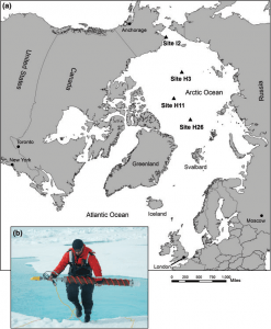 Figure 2: A) Location of sea ice cores used in this study (map by Lieb-Lappen, Thayer School of Engineering at Dartmouth College). B) Sea ice core collected during the 2010 NASA ICESCAPE expedition (photo courtesy of D. Perovich, CRREL).