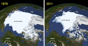 Figure 1. Change in Arctic sea ice minimum during September of 1979 and September of 2011. Image by NASA.