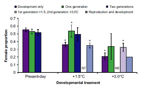 "Figure 4. Proportion of female offspring produced when parents were reared at elevated temperatures for one or two generations or both reproduction and development occurred at one of the temperature treatments.   ""NT"" means that there was no treatment, ""NR"" means no reproduction occurred.  The asterisk symbols mean that there were significant differences between the treatment and the present day control (Donelson and Munday 2015)."