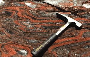Figure 1: banded iron formation. Source: http://www.australianminesatlas.gov.au/education/down_under/iron/formed.html
