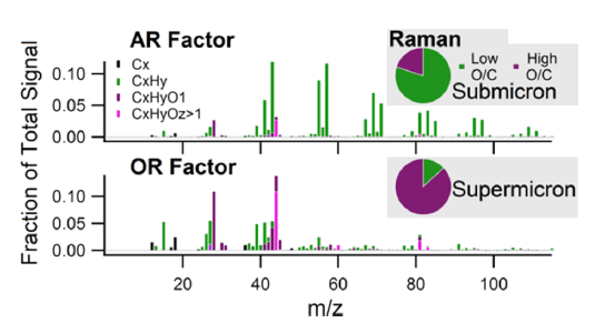 Figure 1. SSA can be decomposed into various categories that seem to overlap nicely with each other. Small SSA particles tend to be aliphatic rich (AR) compounds with low oxygen to carbon ratios while larger SSA particles tend to be more oxygen rich (OR) compounds with higher oxygen to carbon ratios.