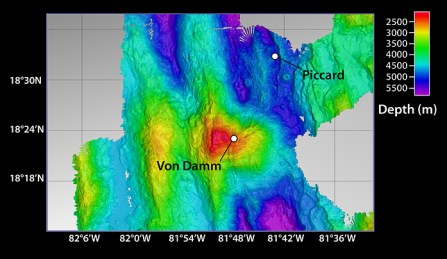 Figure 2: Von Damm Hydrothermal vent field.  Warmer colors represent shallow sections and cold colors represent deeper areas.  Borrowed from:   http://www.whoi.edu/oceanus/v2/article/images.do?id=124489