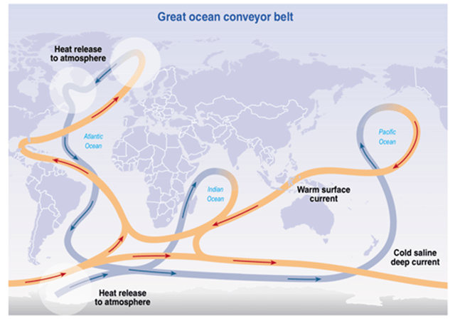 Figure 1. Atlantic Meridional Overturning Circulation (AMOC).  AMOC is the North Atlantic component of the global ocean circulation system, transporting heat from the tropics to higher latitudes, releasing the heat to the atmosphere.  Warm salty water is cooled, becoming much more dense and thus less buoyant, causing it to sink and return back to the tropics at much greater depths.  A slow down of AMOC reduces the amount of heat transfer to the atmosphere.