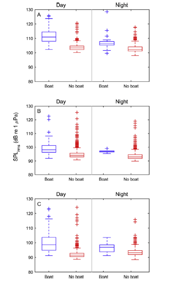 Fig. 4: A comparison of the sound pressure level (SPL) of low frequency sounds (100-1000 Hz) with boat noise (blue) or without (red) at the three reefs (A-TK, B-YA, C-RH) indicates SPL was higher when boat noise occurred.