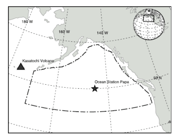Figure 1. Kasatochi volcano is located off of the Aleutian Islands, and  is left of study site and where ash was believed to be deposited over the Gulf of Alaska.