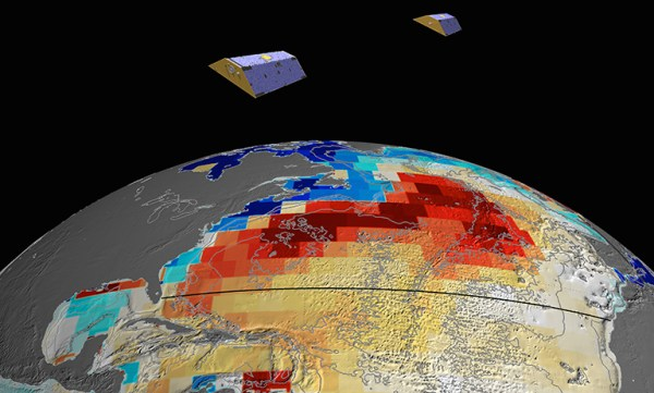Artistic rendition of bottom pressure anomalies as seen by NASA's GRACE satellites. Image credit: NASA/JPL-Caltech.