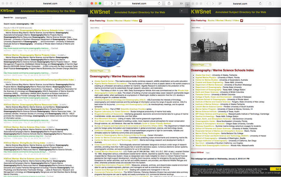 Figure 13: KWSnet.com, an annotated subject directory with links to so many great ocean related links to explore!