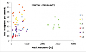 Fig. 5: Results of the sound groupings for diurnal fish. With the exception of sound group #3, other groups had very similar peak frequency and pulse rate leading to very little distinction.
