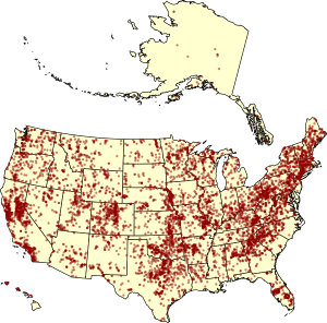 Figure 1 – Major dams in the US: This map shows only the estimated 8,100 major dams (dams over 50 feet tall) in the US. That's a lot of dams. Photo credit: By Kbh3rd - Own work, CC BY 3.0, https://commons.wikimedia.org/w/index.php?curid=8251354
