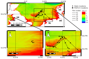 Figure 1: Oilrig and platform locations in the North and Irish Seas. (Taken from Todd et al. (2016) Figure 1.)