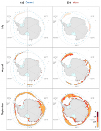 Figure 2 from Melbourne-Thomas et al. 2016. Maps showing the krill larvae habitats (colored shading) in the winter months of July, August and September for the model run under normal conditions (left) and under in the warm scenario (right). The colors show the ridging rate of the ice, which is a measure of ice complexity, with darker reds indicating a more complex under ice surface.