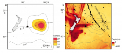 Fig.2. Figures from Grecian et al. 2016 that show the broad-billed prions using the seamount area as a feeding area rather than trekking further south. The panel on the left shows the density of prions, with red indicating the highest bird density. The panel on the right shows the same density contours, but also shows the seamount chain location, indicating that the birds are favoring the area where the seamounts overlap the subtropical front, as this area provides a lot of food resources because of upwelling. Image credits: Grecian et al. 2016, Marine Ecology Progress Series