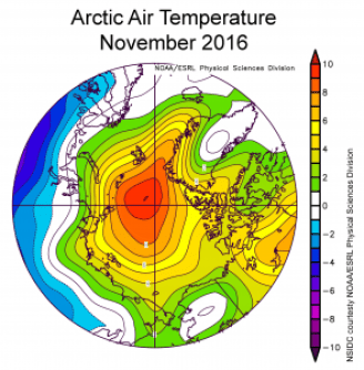 Average air temperature over the North Pole in November 2016. From the NOAA/ESRL Physical Sciences Division.