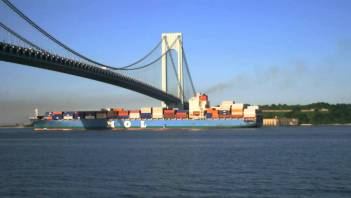Container Ship Departing New York Harbor
