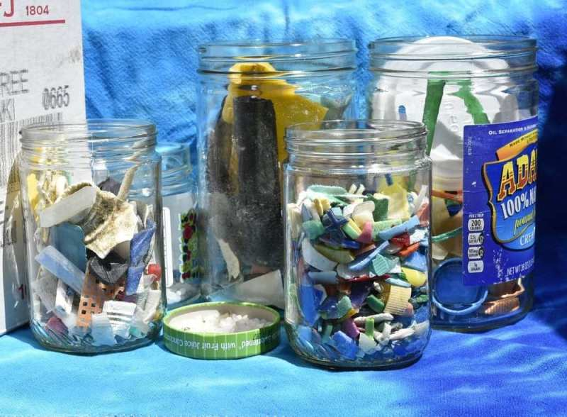 Microplastics collected from the Ocean for student class rooms