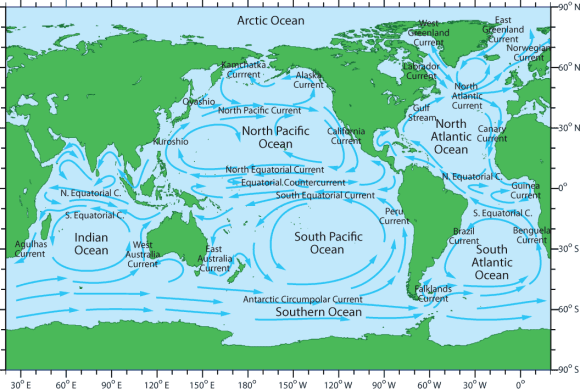 Map of the one world Ocean