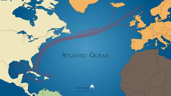 Atlantic Ocean Gulf Stream map
