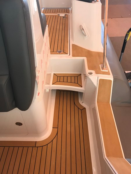 Ocean Boatwork's installation of Flexiteek decking for SAFE Boats
