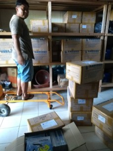Books being unloaded at Sea Trek Sailing Adventures, the official official distributor of the books for bringing them to islands and villages that are not accessible around Eastern Indonesia. (Maga, a local 'Trash Hero' and Anastasia a Tour Leaders from Ambon. She and Sea Trek's other tour leaders talk with the students and teachers when distributing the books to the Villages along their routes.