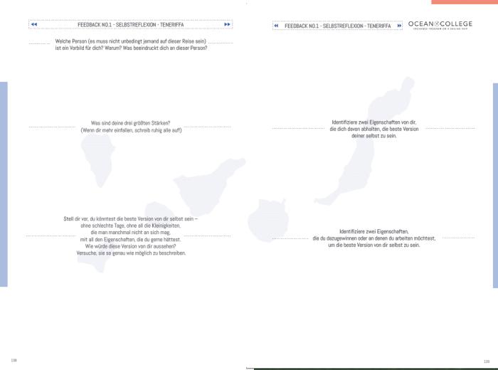 Eine Doppelseite mit Fragen für die Teilnehmer